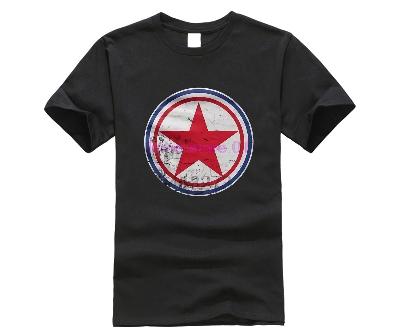 Men North Korea Cockade Black Sport   T     Shirt