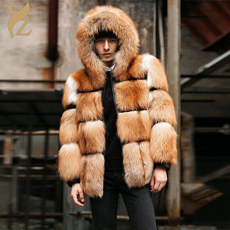 100% Echtem Pelz Rot Fuchs Pelz Mäntel Für Männer Oberbekleidung Echt Fuchs Pelz Jacken Luxuriöse Designer Tops Warme Mit Kapuze Winter 2018
