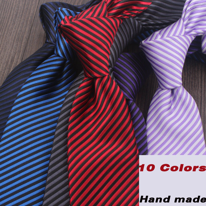 Mens Striped Ties 7CM Wide High Quality Nanometer Slim Necktie 2017 New Fashion Dark Red Black Grey Wedding Ties for Men