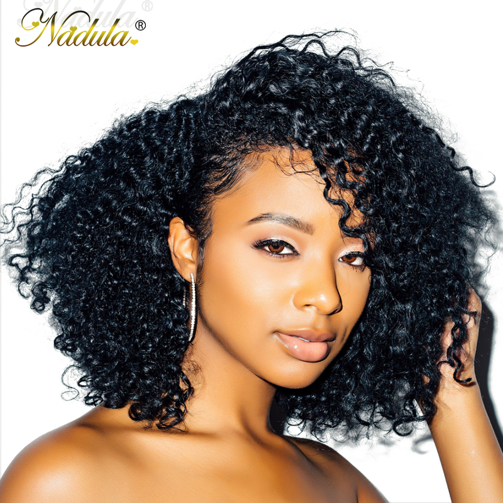 Nadula Hair 13*4 Short Bob Mongolian Kinky Curly Hair Wigs For Women Kinky Curly Lace Front Human Hair Wig Bob Lace Front Wig