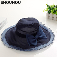 SHOUHOU 2018 new summer women hat beachhat elegant lady's silk anti uv hat girls party show bowknot solid sunhat free shipping