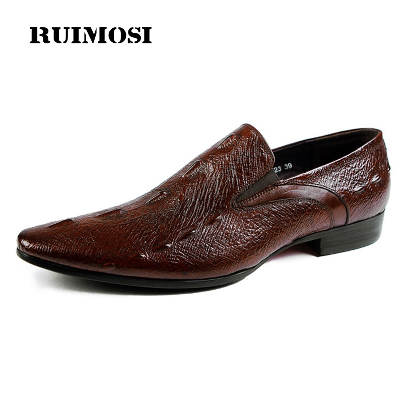 RUIMOSI Luxury Brand Pointed Toe Man Casual Shoes Genuine Leather Loafers Italian Designer Slip on Men's Business Flats HJ58