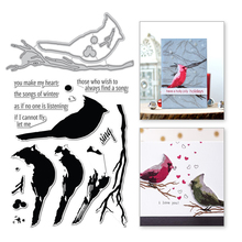 Naifumodo Bird Branch Metal Cutting Dies Animal Stamps and Scrapbooking for Making Card Embossing DIY Craft Stencil Die Cut
