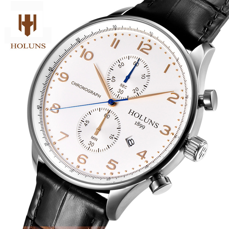 HOLUNS Luxury Watch men Waterproof leather strap Chronograph stainless steel sport Quartz watch relogio masculine все цены