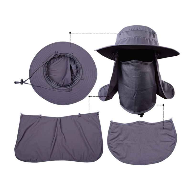 3d6d55f72d483 ... Sunscreen Sun Cap With Mask Headband Fishing Hiking Sun Rain Hat  Outdoor UV Protection Face Neck
