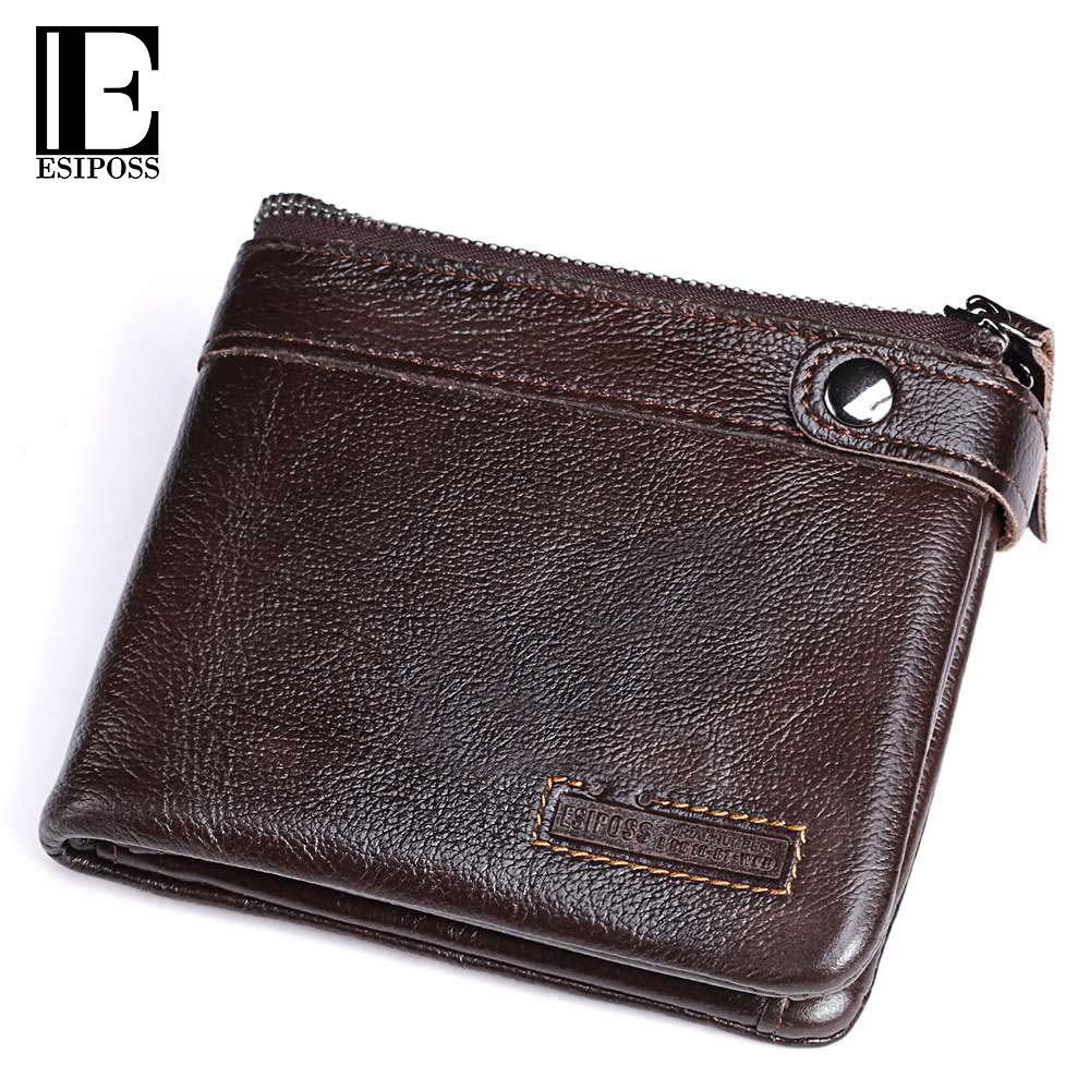 ESIPOSS Genuine Cowhide Leather Men Wallet Fashion Short Bifold Purse with Card Holder High Quality Brand Designer Male Walet manbang 2017 new wallet genuine leather men wallets short male purse card holder wallet men fashion high quality free shipping