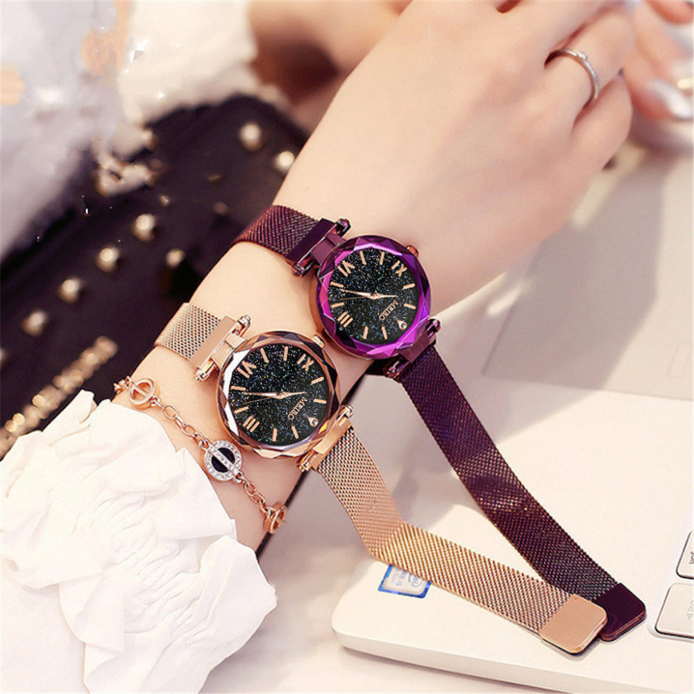 Romantic Fashion Rose Gold Women Men Magnetic Digital Watches Luxury Stainless Steel Led Electronic Wristwatches Waterproof Sports Clock Soft And Light Watches