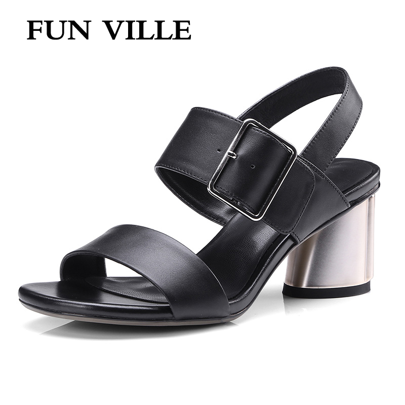 FUN VILLE 2018 Genuine leather Women Sandals Summer Shoes Women Open Toe Chunky High Heels Party Dress Sandals Big Size 34-42 mmnun 2017 boys sandals genuine leather children sandals closed toe sandals for little and big sport kids summer shoes size26 31
