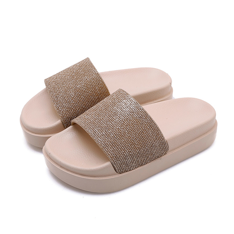 YMECHIC 2019 Small Size Crystal Gold Silver Flat Platform Beach Slippers  Summer Glitter Womens Shoes Slides Daily Flip Flops-in Flip Flops from Shoes  on ... 010b07ebeb83