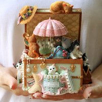 Cat treasure chest rotating music box music box retro birthday Christmas gifts for girls and children LM01081914