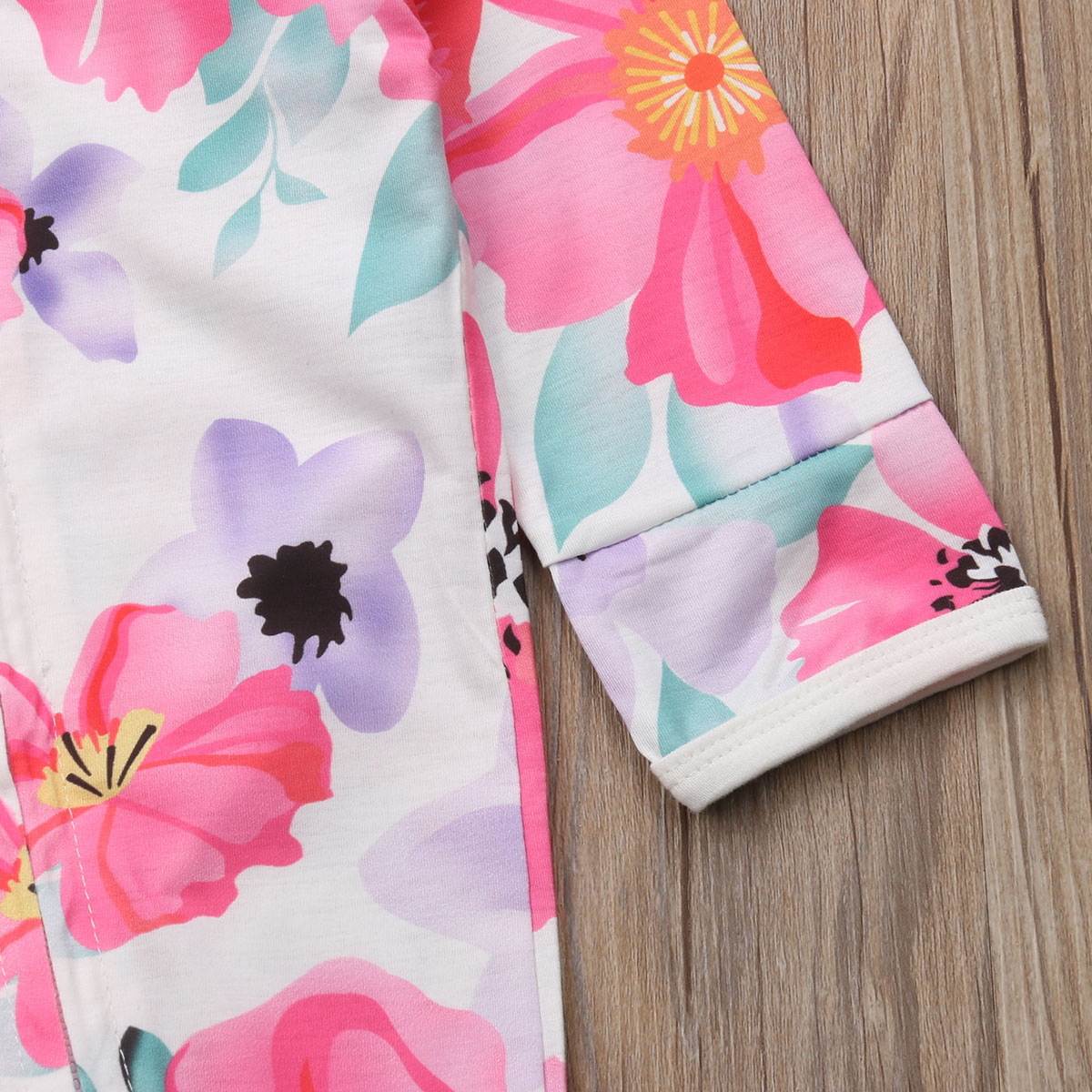 Pudcoco Girl Jumpsuits 0-24M US Flower Newborn Baby Girl Zipper Cotton Romper Jumpsuit Autumn Outfits Clothes
