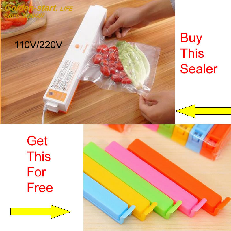 ФОТО Kitchen tool plastic bag vacuum sealing machine vacuum sealer with 15pcs plastic bags and 10 colorful clips for free gifts!