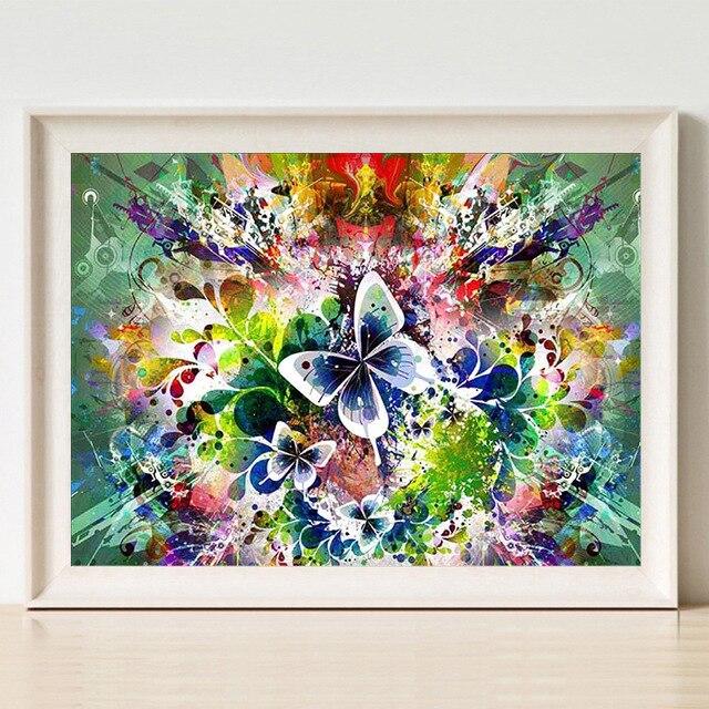diy 5d diamond embroidery landscape butterfly Mosaic Crystal Cross Stitch Needlework Diamond Painting DIY Sticker Decor in Diamond Painting Cross Stitch from Home Garden