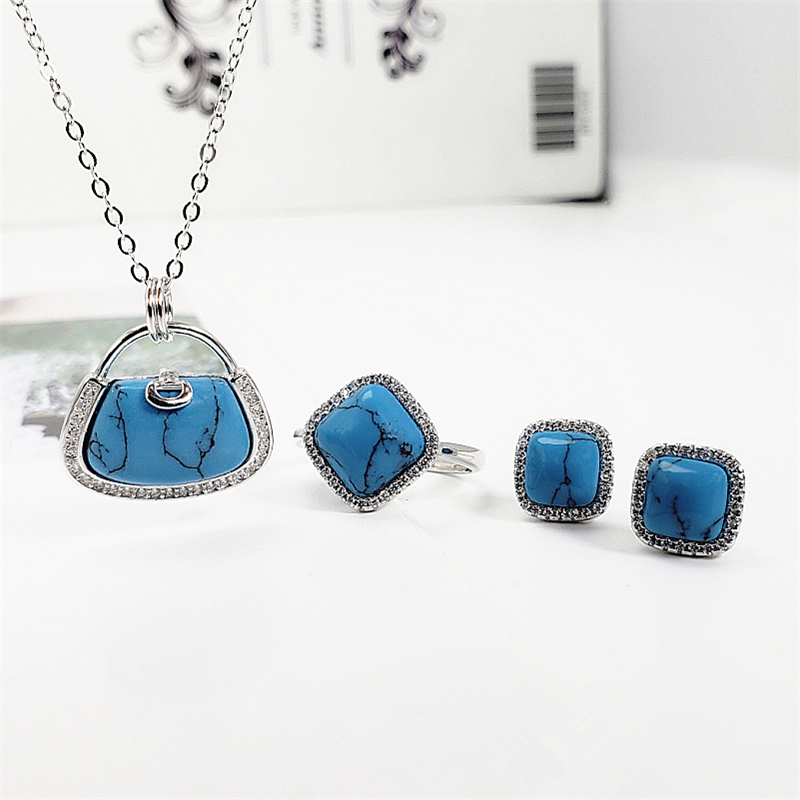 925 Sterling Silver Blue Turquoise Red Agate Stone Crystal Bag Women Jewelry Set S925 Natural Gemstone Necklace Earring Ring Set925 Sterling Silver Blue Turquoise Red Agate Stone Crystal Bag Women Jewelry Set S925 Natural Gemstone Necklace Earring Ring Set