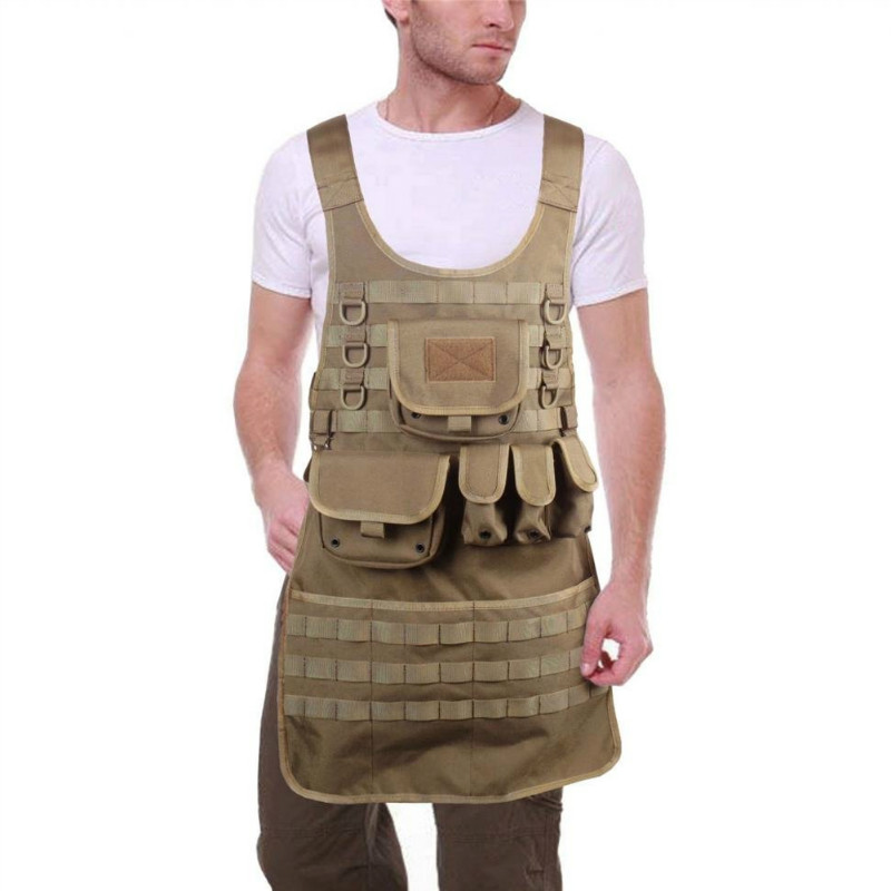 ФОТО OneTigris Outdoor MOLLE Vest Tactical BBQ Apron for Chef and Mechanic Utility Cooking Aprons with Five Pouches