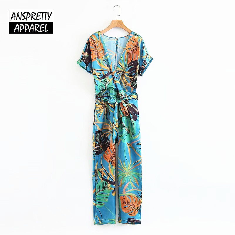 Anspretty Apparel bohemian wide leg jumpsuit women short sleeve satin rompers summer loose ladies boho overalls
