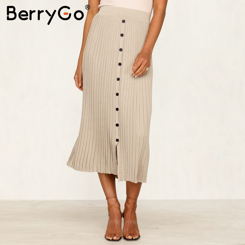 Image 2 - BerryGo Vintage bodycon knitted skirts women Buttons a line striped midi skirts female Elegant office ladies pencil skirts 2019Skirts   -