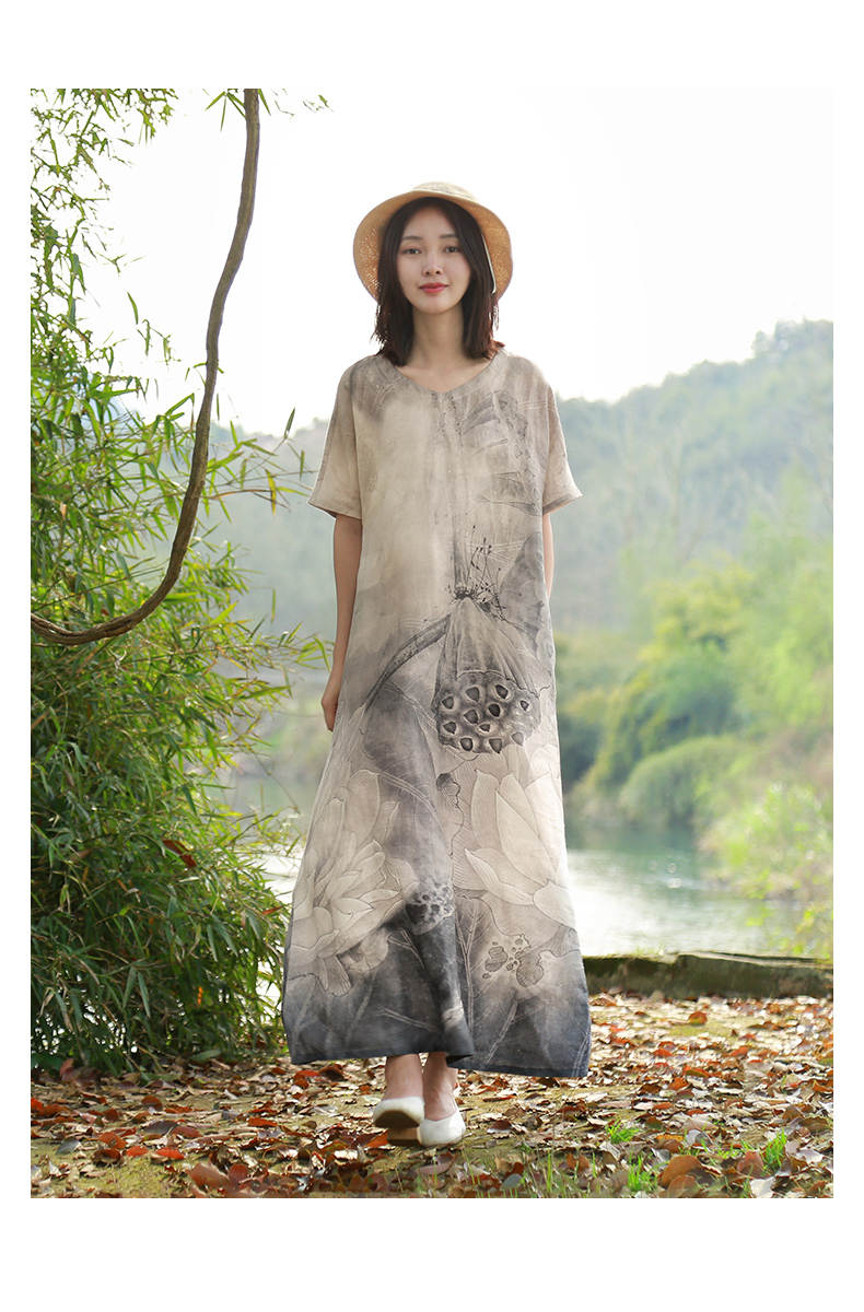 LZJN 2019 New Summer Women Retro Black Grey Lotus Print Short Sleeve Cotton Linen Dress Loose Casual Ankle Length Dress Vestidos (16)
