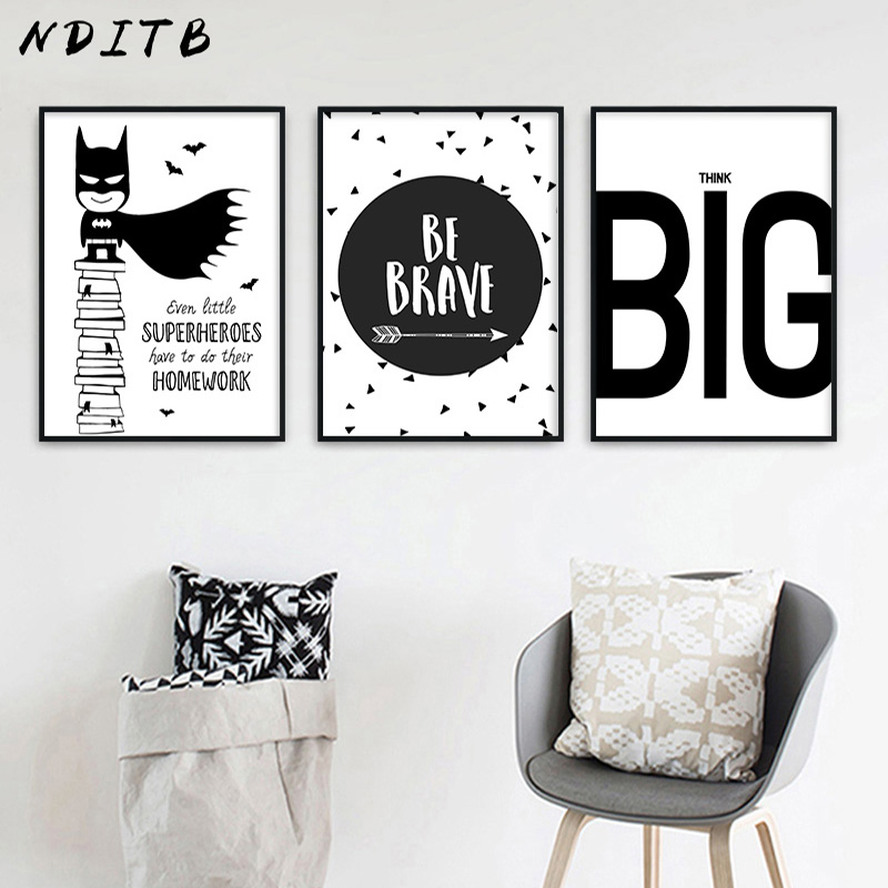 NDITB karikatür süper kahraman Batman tırnak komik tuval sanat posterleri siyah beyaz kreş baskı boyama duvar resmi çocuklar için yatak odası