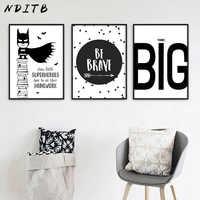 NDITB Cartoon Superhero Batman Quotes Comic Canvas Art Poster Black White Nursery Print Painting Wall Picture for Kids Bedroom