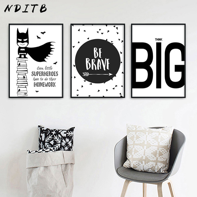 Nditb cartoon superhero batman quotes comic canvas art poster black white nursery print painting wall picture