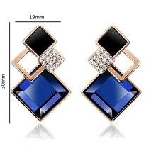LNRRABC   Square Earring Piercing Gold Silver  Rhinestone Crystal Stud Earrings For Women Fashion Wedding Party Jewelry