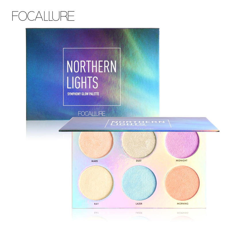 FOCALLURE Northern Lights Symphony Glow Palette Makeup Glitter Face Glow Shimmer Bronzer Highlighter Shimmer Powder essence prismatic rainbow glow highlighter 10 цвет 10 be a unicorn variant hex name f4d683