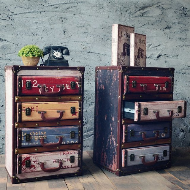 Vintage Chic Decorative Cabinets Decoration Retro Furnishing Living Room Side Storage Cabinet Home Furniture Decor Lockers