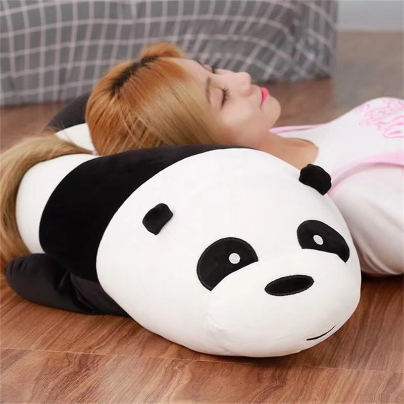 cartoon lovely plush panda toy soft lying panda pillow doll gift about 90cm cartoon glasses panda in yellow cloth large 70cm plush toy panda doll soft pillow christmas birthday gift x031