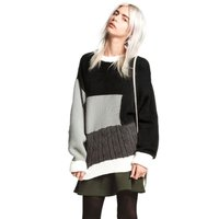Autum Women Pullovers Sweaters Loose Geometric Splicing Long Sleeve Outwear Sweater Hot