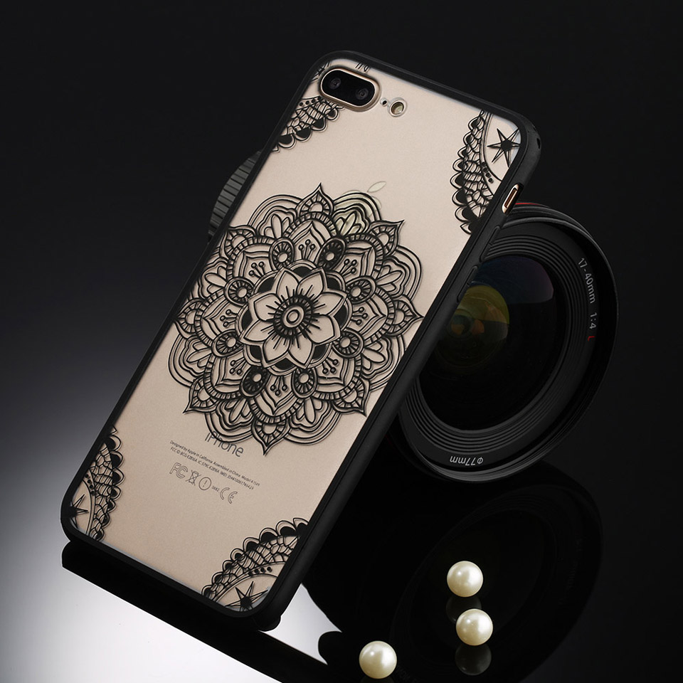 Sexy Retro Floral Phone Case For Apple iPhone 7 6 6s 5 5s SE Plus Lace Flower Hard PC+TPU Cases Back Cover Capa For iPhone7Plus 11