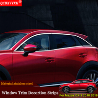 QCBXYYXH Car Styling Car Windows Sequins External Decorations Stickers Auto Door Frame Car Accessories For Mazda CX 3 2018 2019