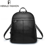 Herald Fasion Brand Casual Backpacks PU Leather New Design Backpacks Simple Large Capacity Leisure Travel Backpack