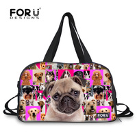 FORUDESIGNS Pink Pug Ladies Dual Handles Gym Club Grip Bags Womens Sports Duffle Bag Tote Gym Yoga Carry On Travel Shoulder Bag