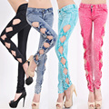 YONO New Fashion Women Jeans Side Bow Hollow Out Denim Pants Bleached Stretch Pencil Pants Skinny Low Waist Sexy Slim Trousers