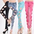 YONO Nuevas Mujeres Jeans Side Bow Hollow Out Denim pantalones Blanqueados Lápiz Estiramiento Pantalones Flacos Cintura Baja Atractiva Delgada pantalones