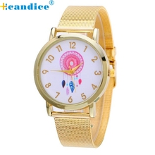 Supper enjoyable Excessive High quality relogio feminino Trend Girls Gold Stainless Metal Analog Quartz Wrist Watch jan22