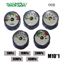 ใหม่ Paintball Acessorios PCP Air ปืน Airsoft Mini Manometer 5MPa 10MPa 20MPa 30MPa 40MPa M10 * 1