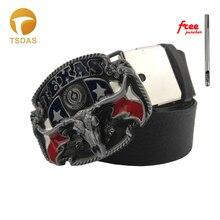 Texas Belt Buckle Cowboy Metal Silver Belt Buckles For Men's Gift Cow Belt Buckles With PU Belt Drop Shipping