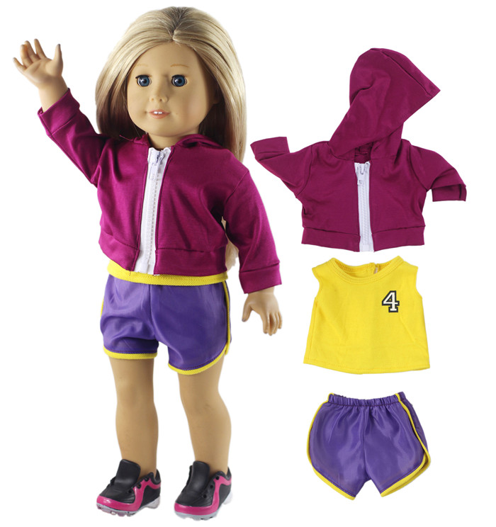 3 Pcs Fashion Basketball Sport Suit Outfit Doll Clothes for 18 Inch American girl
