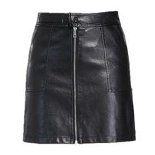 Autumn-winter skirt of artificial leather spicy miniskirt with pockets of zipper A-Line High Waist Women's clothing Femininas