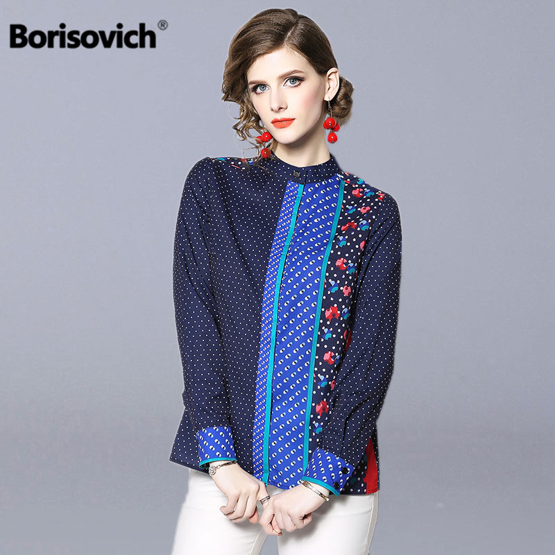 Borisovich Office Lady Elegant Print Shirt New 2019 Spring Fashion Stand Collar Long Sleeve Women Casual Blouses Shirts N520