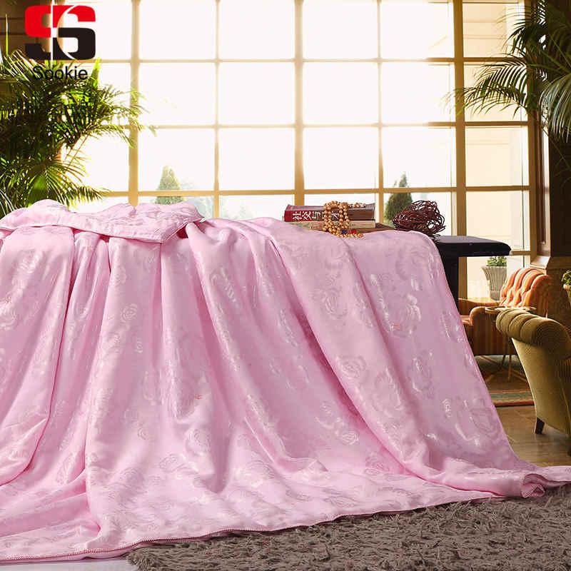Sookie роскошное шелковое летнее одеяло жаккардовое кондиционер розовый белый