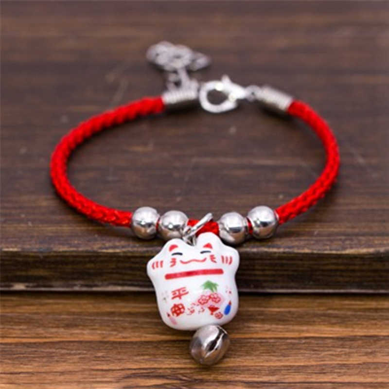 New Cute Lucky Cat Ceramic Beads Safe Bracelet Red Rope Bangle Handmade Fashion Jewelry Adjustable Length