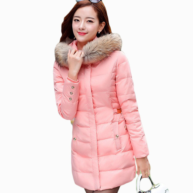 49dcc183a US $53.1 |2017 New Coats & Jackets Hooded Winter Snow Jacket Women Fur  Collar Winter Coat Women Long Cotton padded Coat manteau femme W024-in  Parkas ...