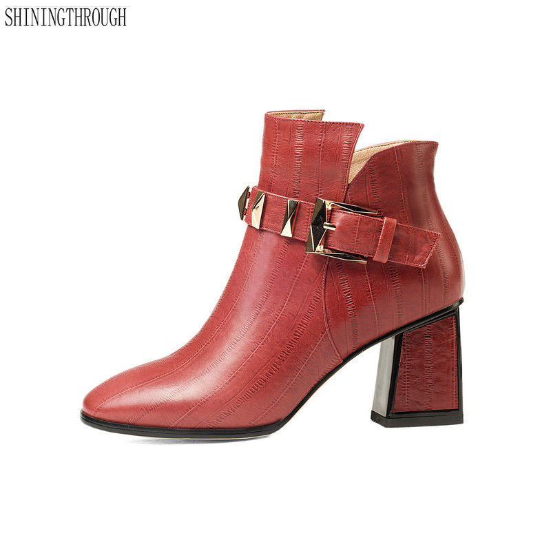 цены New women genuine leather ankle boots thick high heels black red ladies wedding shoes square toe autumn winter boots woman