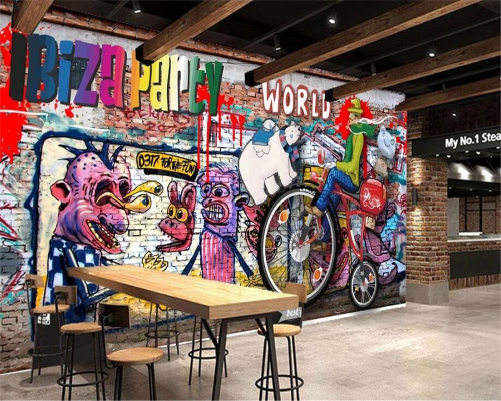 Beibehang Benutzerdefinierte Wallpaper Bunten Rock Graffiti Bar KTV ...