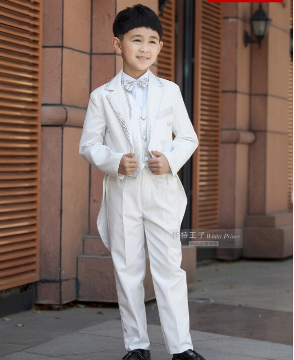 Elegant Fashion Children White Tuxedo Set Costume Birthday Fashion