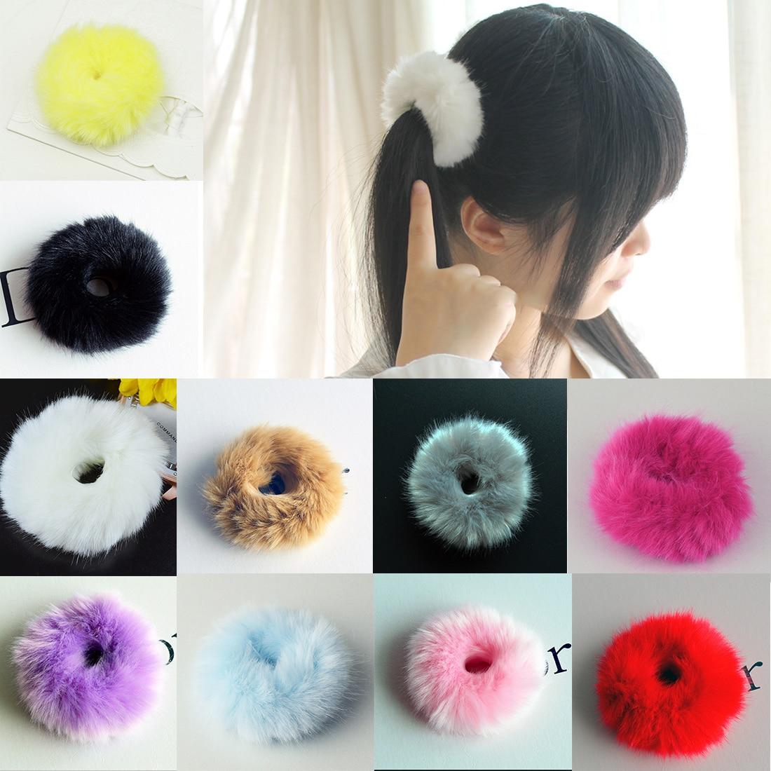 2pcs Cute   Headwear   Set Trendy Soft Women Girls Hairband Fake Rabbit Fur Elastic Hair Bands Girls Hair Accessories Cute RabbitRub