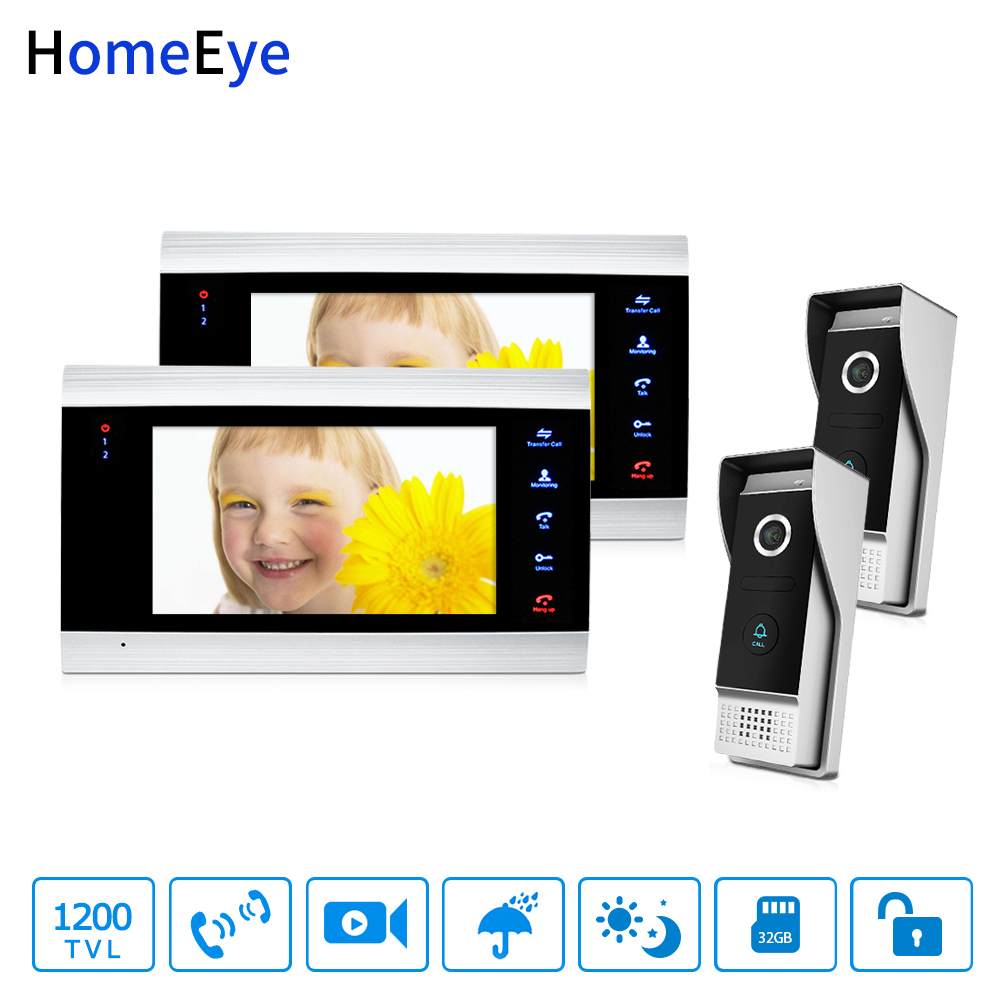 HomeEye 7'' 1200TVL Video Door Phone Video Intercom Security Access System Motion Detection Multi-languages OSD Menu For 2 Locks